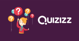a girl holding balloons, with the Quizziz at her side