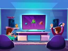 Two kids having fun while playing video games