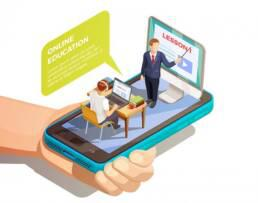 a hand holding a smartphone. Two people appear inside the phone, a student and a teacher are in a class